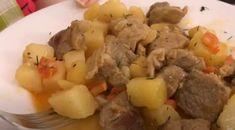 Χοιρινό με πατάτες και μυρωδικά στην κατσαρόλα. Λουκούμι! Potato Salad, Potatoes, Meat, Chicken, Ethnic Recipes, Food, Potato, Essen, Meals