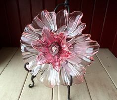 "Repurposed Glass Flower,- ""Jessica"" Mikasa & MURANO Pink Crystal Glass Flower, Made from Glass Plates"
