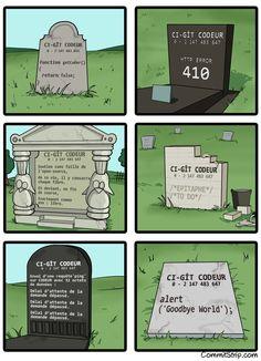 Epitaphes de codeurs | CommitStrip
