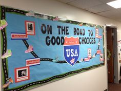 Augusta Christian School in Augusta, GA. Travel Bulletin Boards, Classroom Bulletin Boards, Classroom Themes, School Decorations, School Themes, School Ideas, Road Trip Theme, Race Car Themes, Around The World Theme
