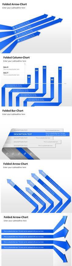 Display numbers and results in a visually attractive way with diagrams in a folded design for PowerPoint!