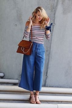 25 Casual Culottes Outfit Trends To Change The Way Of Styling Denim Culottes Outfits, Culotte Style, 70s Inspired Outfits, Ohh Couture, Estilo Jeans, Casual Outfits, Fashion Outfits, Fashion 2017, Pantalon Large