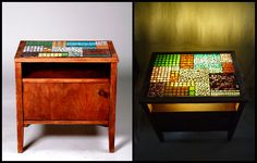 """Patchwork"" világító mozaik szekrényke / ""Patchwork"" illuminating mosaic nightstand Mosaic Designs, Cabinet Design, Cabinets, Table, Furniture, Home Decor, Scrappy Quilts, Armoires, Decoration Home"
