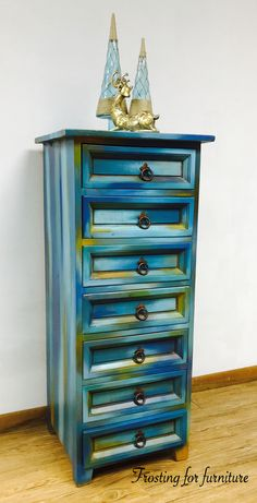 Lingerie Chest painted in a Bermuda blending technique using Southern Blenders paints and Unicorn Spit