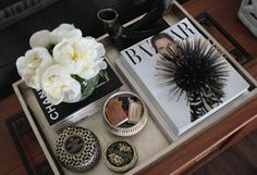 small shop for Joy and Revelry gold silver tray chinois handles styling books peonies urchin candle matches