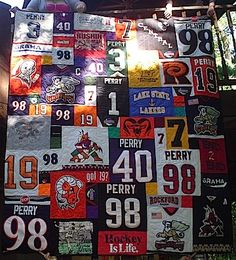 She takes your old hockey jerseys and makes a quilt-worth every penny to have someone do this right! Can't wait to have enough...