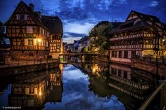 Strasbourg - La Petite France - The Petite France is the most picturesque and one of the best preserved parts of the historical centre of Strasbourg (Alsace, France). Its bridges, half-timbered houses, and winding streets make it a magnet for visitors.   Single exposure during the Blue Hour time taken in May 2016.