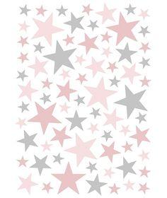 55fe9bcd901 Vinilo Estrellas Gris y Rosa - Vinilos, stickers y papel pintado -  Decoración | Minimoi