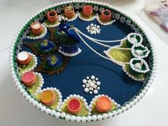 Navratri is a second biggest festival in India after Diwali. This navratri 2017 decor your chaniya choli & dandiya sticks with our DIY Decor ideas. Visit at Architectures Ideas & get more info. Arti Thali Decoration, Kalash Decoration, Ganapati Decoration, Decoration For Ganpati, Home Decoration, Flower Decoration, Happy Diwali, Diwali Diy, Diwali Craft