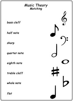 Homeschool Helper Online's Music Theory Matching Worksheet #violinlessonsforkids