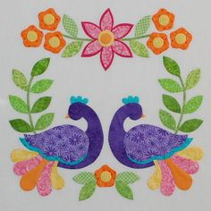 beautiful peacock and flower #applique, awesome colors!!
