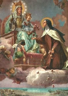 All about Mary...Our Lady of Mt. Carmel with Baby Jesus and St. Therese of Lisieux (The Little Flower)