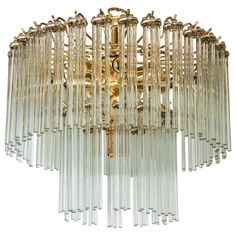 A Mid Century Two-Tier Brass and Glass Chandelier by Staff | From a unique collection of antique and modern chandeliers and pendants  at http://www.1stdibs.com/furniture/lighting/chandeliers-pendant-lights/