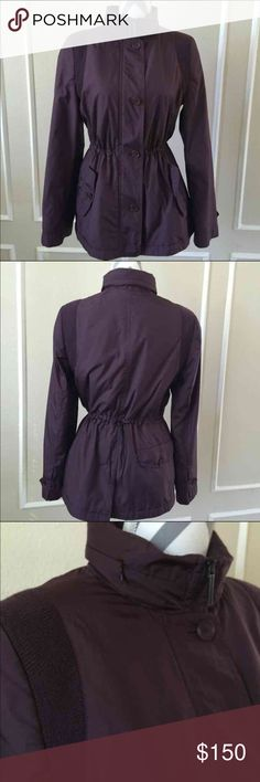 Akris Punto Jacket Perfect jacket by Akris. It's is an eggplant shade, hood can be rolled into collar. Adjustable waist. Size 8 No flaws,  excellent condition Akris Jackets & Coats