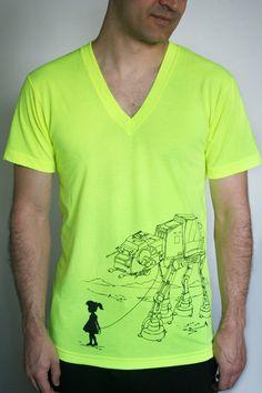 My Star Wars AT-AT Pet - American Apparel Mens / Unisex V-Neck t shirt ( Star Wars V- Neck tshirt ) Neon Yellow. $23.00, via Etsy.