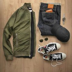 Bomber jacket outfit grid