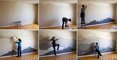 Dipingere le pareti con acquerelli seguendo le idee per decorare con murales colorati, pitture e carte da parati con paesaggi naturali.