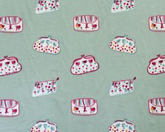 Girly curtain and decoration fabric with clutches embroidered on a bluish linen base. Happy Party, Fabric Wallpaper, Girly, Curtains, Interior, Fabrics, Color, Home Furnishings, Wallpaper S