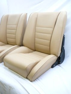 our'Sport S' light tan leather seats.Remake of the Recaro Ideal.Classic Car Seats by GTS classics.