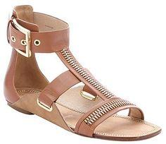 Rachel Zoe light brown leather 'Inigo' zip detail sandals