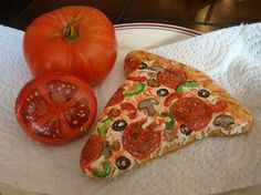 Painted Rocks - slice of pizza, tomatoes