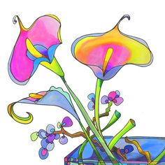 Calla Lilly Three Sisters - colorful botanical illustration at Lisa Katharina's online shop. For sale as prints, towels, pillows and more!