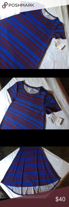 Textured Blue with Gray Medium LuLaRoe M Classic T #798