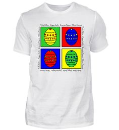 Vier bunte Eier - Frohe Ostern T-Shirt Happy Easter, Shirt Designs, Mens Tops, Easter, Happy Easter Day