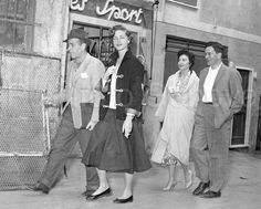"""Humphrey Bogart, Lauren Bacall, Ava Gardner, and David Hanna (Ava's manager) during the filming of """"The Barefoot Contessa"""" in Rome, 1954."""
