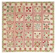 Baltimore album quilt, ca. with twenty-five floral blocks, with trapunto and ruching within a swag border, x Great sashing! Antique Quilts, Vintage Textiles, Vintage Quilts, Applique Designs, Quilting Designs, Sampler Quilts, Appliqué Quilts, Green Quilt, Quilt Border