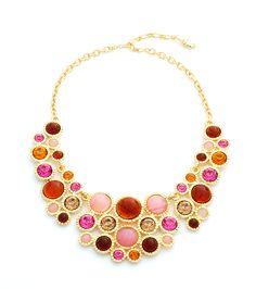 Multi-Color Cabochon Bib Necklace