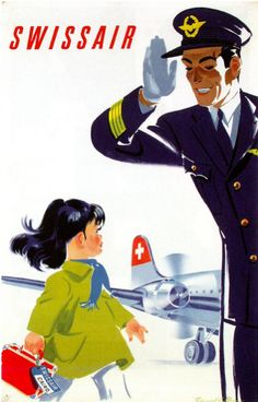 Swissair Pilot Cairo, 1949 - original vintage travel advertising poster by Donald Brun. Old Poster, Poster Retro, Poster Ads, Advertising Poster, Poster Vintage, Travel Ads, Airline Travel, Air Travel, Travel Photos