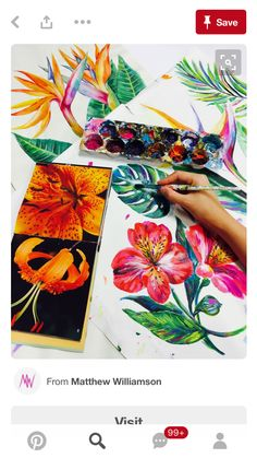 A combination of oil and acrylic paints were used with square-tipped brushes and thick palette knives to depict the flora and fauna of the area. The Matthew Williamson Maracas Montage print as painted in the studio. Graphic Design Illustration, Watercolor Illustration, Watercolour, Sketchbook Inspiration, Art Sketchbook, Painting & Drawing, Silk Painting, Art Techniques, Art Inspo