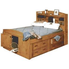 Solid & dependable, the Bunkhouse Full Size Captains Bed by Trendwood USA is built to last. Solid pine with a cinnamon finish adds warmth to any room. Bed Frame With Storage, Under Bed Storage, Eco Deco, Daybed Room, Captains Bed, Bookcase Headboard, Woodworking Bed, Woodworking Projects, Bed With Drawers