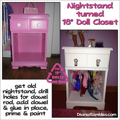 """Nightstand turned into 18"""" American Girl Doll Closet Tutorial from DianaRambles.com #AmericanGirlDoll @ Sarai Gregory I need to do this"""