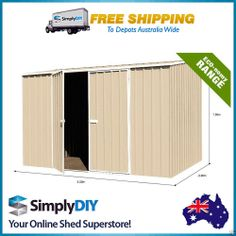 ABSCO ECO RANGE 3 x 2.26 x 2m GARDEN SHED DOUBLE DOOR PREMIER FREE DEPOT CREAM