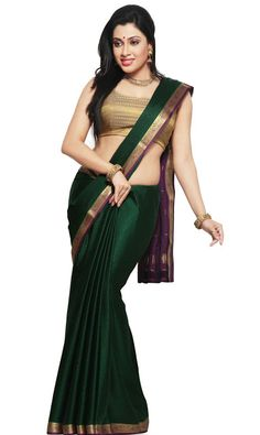 Saree Market: Pure Mysore Silk Sarees Green Colour