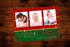 Family Picture Christmas Card in Red Green by InvitesandDelites