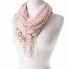 The Pink Lace Butterfly Scarf features a swirl design that adds romance and whimsy to your wardrobe. The sheer light pink neck scarf is lightweight and a versatile clothing accessory you can wear year-round. Butterfly Scarf, Fringe Scarf, Swirl Design, Neck Scarves, Pink Lace, Beautiful Outfits, Your Style, Dress Up, Fun Things