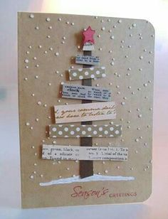 25 beautiful handmade cards – that would be great to make small scraps - Christmas Cards Christmas Card Crafts, Homemade Christmas Cards, Homemade Cards, Holiday Cards, Christmas Paper, Chrismas Cards, Prim Christmas, Winter Cards, Christmas Greeting Cards