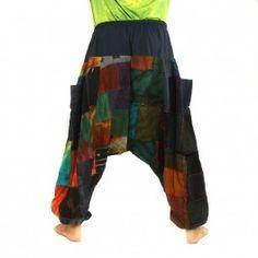 Aladin pantalones de algodón del remiendo