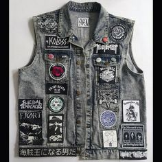 Heavy Metal Fashion, Dark Fashion, Grunge Fashion, Punk Outfits, Trendy Outfits, Cool Outfits, Jean Vest, Vest Jacket, Sleeveless Denim Jackets