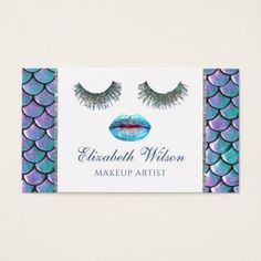 mermaid glam makeup artist business card - makeup artist gifts style stylish unique custom stylist