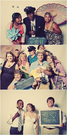 Wedding Photo Booth! It is popular in weddings now and all your guests can be apart of it. It looks fun!