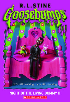 Night Of The Living Dummy Two by R. L. Stine. A girl named Amy is having a lot of trouble with her dummy who's named Dennis and receives a new dummy from her dad. This new dummy is named Slappy and at first Slappy is a lot of fun, but when the spell in his pocket is read-out loud trouble starts and soon Slappy is the one who's calling all the shots. For ages nine and up.