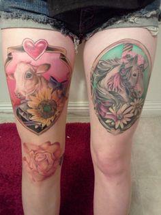 horse tattoo, love the hors, cow is kinda odd