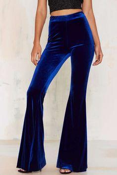 Nasty Gal Annabel Lee Velvet Flare Pants - Blue - Clothes   Party Shop   Wide Leg + Flare   Pants