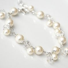 Wedding Charm Bracelet Pearl Bracelet for the by somethingjeweled