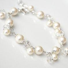 Pearl Crystal Bridal Bracelet, Wedding Bracelet, Ivory Pearl Bracelet, Pearl Jewelry, Sterling Silver Charm Bracelet. Wedding Jewellery