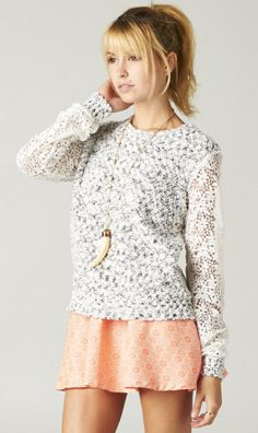 FLORAL LACE SLEEVE KNIT SWEATER. cute outfit too